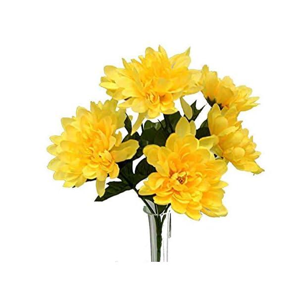 5 Mums Yellow Wedding Bridal Bouquet Silk Flowers Centerpiece Artificial Flowers