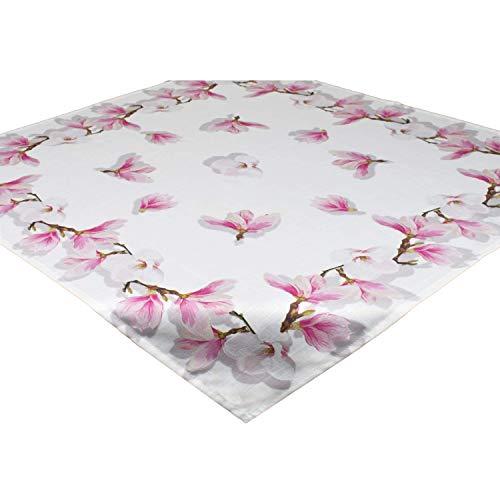 Tischdecke Magnolie, weiß, 85x85 cm, Mitteldecke für Frühling Sommer