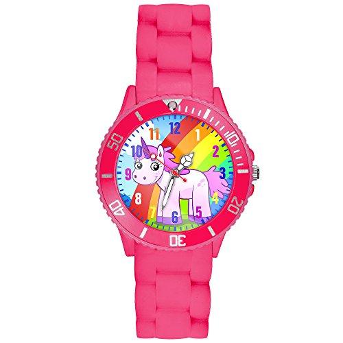 Taffstyle Kinder-Armbanduhr Analog Quarz mit Silikon-Armband Zahlen Einhorn Kinderuhr Lernuhr Sport-Uhr Rainbow Pink