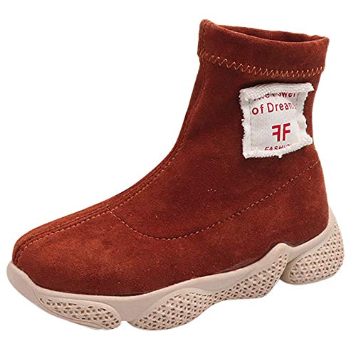 HUHU833 Baby Stiefel, Kind Sport Stiefel Kleinkind Baby Jungen Mädchen Brief Drucken Warme Stiefeletten Hohe Hilfe Schuhe Sportschuhe Sneaker (28 EU, Braun)