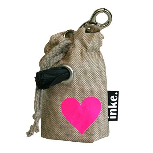 inke. Mini Kotbeutelspender in Handarbeit aus Norddeutschland inkl. 1 Rolle Bio-abbaubare Kotbeutel, Sand Herz Pink