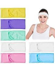 7 stuks haarband voor gezicht spa hoofdband cosmetica badstof hoofdband haarbeschermingsband met klittenbandsluiting yoga sport hoofd wikkelen met Magic Tape voor sport, yoga, make-up, wasbaar