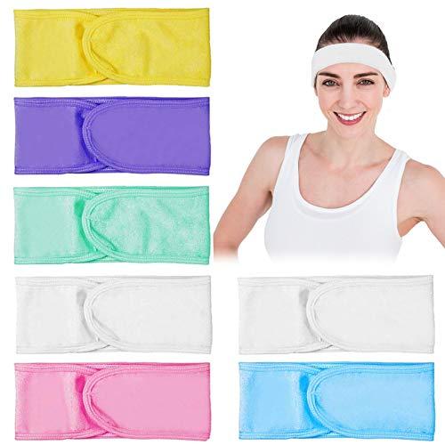 7 Pack Facial Spa Diadema Maquillaje Diadema Tela de rizo Diadema Ducha Diadema Estiramiento Yoga Deporte Envoltura para la Cabeza con Cinta Mágica (Multicolor)