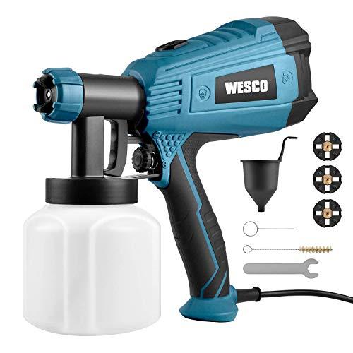 Farbsprühsystem, WESCO 500W 800ml/min Elektrisches Farbspritzpistole mit 3 Düsen (1,5/1,8/2,0 mm) und 3 Spritzmuster für Lacke, Lasuren und Farbmengenregulierung Farbsprühsystem/WS5585