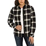 Orvis Womens Fleeced Lined Flannel Pinnacle Shirt Jacket (Greyscale Plaid, X-Large)