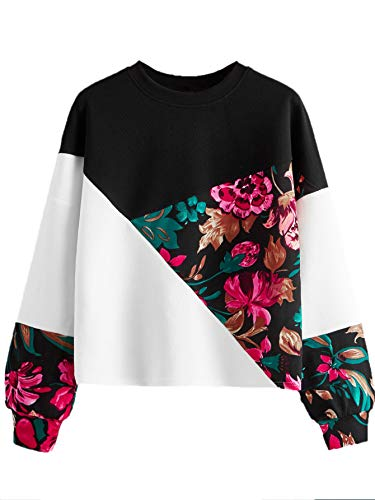 Romwe Women's Lightweight Casual Colorblock Floral Print Long Sleeve Round Neck Sweatshirt Top Blouse Multicolor Large