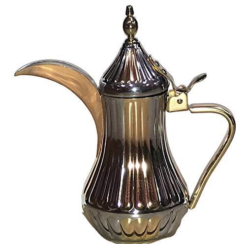 Stainless Steel Gold & Chrome color Tradition Arabic & Turkish Coffee/Tea Pot (Dallah) دلة قهوة عربية