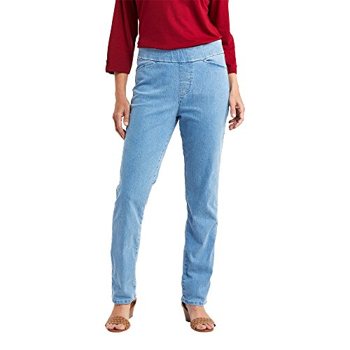Chic Classic Collection Women's Easy-Fit Elastic-Waist Pant, Lightwash, 12