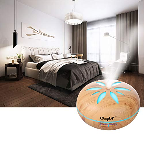 550ml-Essential-Oil-Diffuser-with-Bluetooth-Speaker-CkeyiN-Aroma-Diffuser-Cool-Mist-Humidifiers-with-Adjustable-Mist-Mode-Waterless-Auto-Shut-off-for-Relaxing-Atmosphere-in-Bedroom-Spa-Wood-Grain