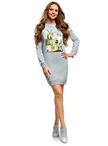 oodji Ultra Mujer Vestido de Estilo Deportivo con Estampado, Gris, ES 36 / XS