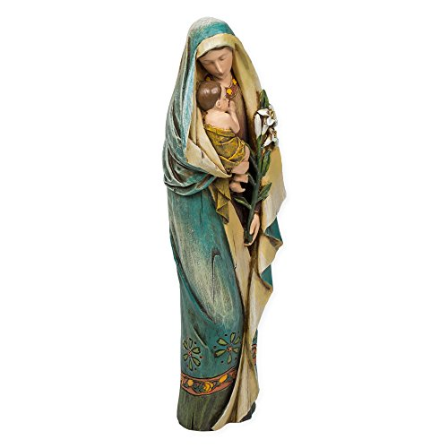 Roman Madonna & Child with Lily Renaissance Collection 12.5 Inch Resin Stone Statue Figurine