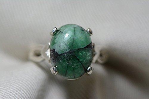 7.78 Carat Trapiche Emerald Ring,Certified Emerald Cabochon Solitaire In Sterling Silver