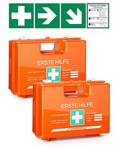 2 botiquines de primeros auxilios con contenido según la norma DIN 13157, incluye práctico soporte de pared, 4 pegatinas y precintos, maletín de primeros auxilios para empresas, instalaciones y hogar