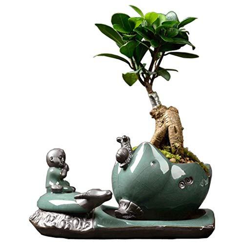 Home decoration/Feng Shui table Personnalité créative Pots en céramique de Ge Yao Simple Vert Roland Herbe Plante Maison En Pot Intérieur IKEA Art Pot