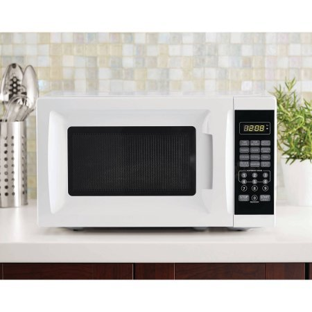 Bright LED Display, Child-Safe Lockout Feature, 700W Output Microwave Oven in White