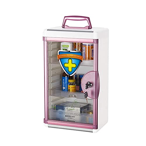 QIXIAOCYB Caja de Almacenamiento Capacidad de Gran Capacidad Montado en la Pared Caja de Medicina Grande Caja de Almacenamiento Medicina Primeros Auxilios (Color : Pink)
