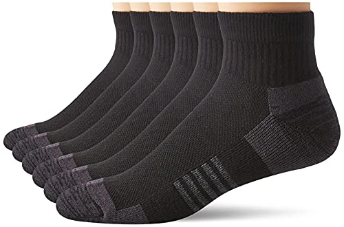 Amazon Essentials 6-Pack Peformance Cotton Cushioned Athletic Ankle Socks, Negro, Shoe: 6-12