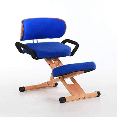 FACAIA Posture Correction Office Chair Ergonomic Kneeling Chairs Backrest Armrest Cotton Linen Kneel Stool Orthopedic Stool Kneeling Chair (Color : Camel)