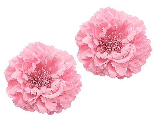 BONAMART 2 Stück Frauen Baby Mädchen Kinder Blumen Haarspangen Set Schleife Haarschmuck Pfingstrose Pink Rosa