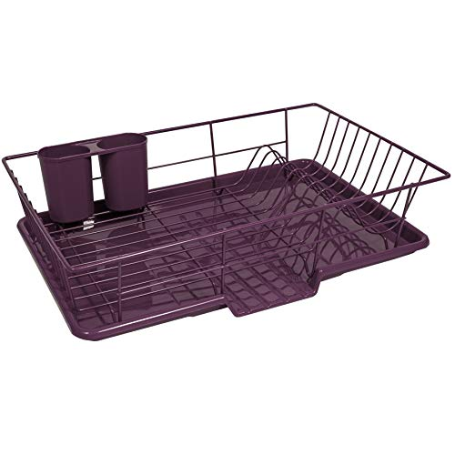 Sweet Home Collection 3 Piece Dish Drainer Rack Set with Drying Board and Utensil Holder, 12' x 19' x 5', Eggplant