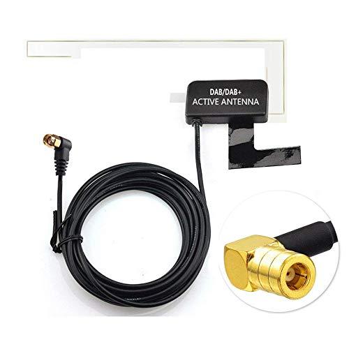 Moli Smart DAB DAB + Antenna con connettore SMB ad angolo retto per parabrezza in vetro montato compatibile per autoradio DAB digitale