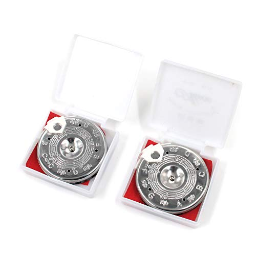 FarBoat 2Pcs C-C/F-F Pitch Pipe Tuning-Devices Tuners 13 Note with Storage Case (Chrome-Plated)