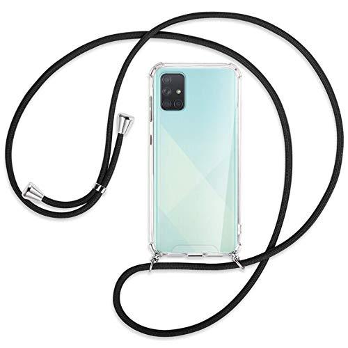mtb more energy® Collar Smartphone para Samsung Galaxy A51 (SM-A515, 6.5'') - Negro - Funda Protectora ponible - Carcasa Anti Shock con Cuerda