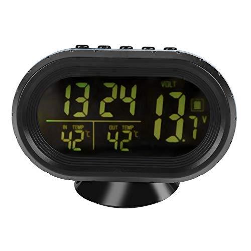 Digitales Auto-Thermometer 12/24H Wecker Frostwarnung Temperatur-Thermometer Batterie-Detektor Spannungsüberwachung LED LCD-Anzeige mit wählbarer Hintergrundbeleuchtung für PKW, LKW und Busse(Schwarz)