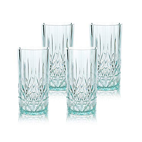BELLAFORTE - Shatterproof Tritan Tall Tumbler Teal - 18oz, Set of 4, Myrtle Beach Drinking Glasses, Dishwasher Safe Plastic Tumblers - Unbreakable Glassware for Indoor and Outdoors - BPA free