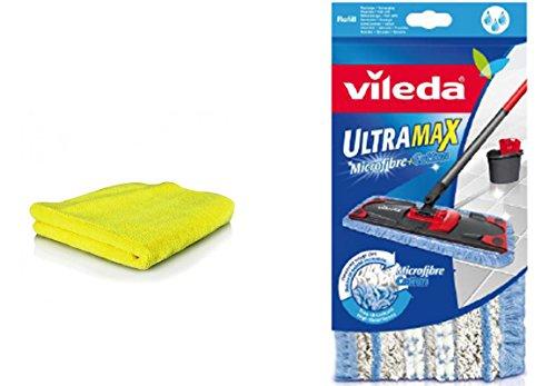 SILUK Vileda Ultramax Ersatzbezug Microfibre mit Schlingen inkl. Microfaser Tuch I Wischbezug für Fliesen Steinböden I 2er-Set (Modell 3)