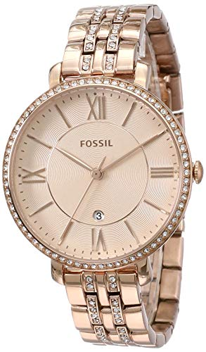 Fossil Women's Jacqueline Quartz Stainless Three-Hand Watch, Color: Rose Gold Glitz (Model: ES3546)
