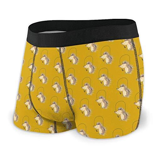 Drempad Boxer Aderenti da Uomo, Men's Boxer Brief Cute Hedgehog Pattern Protection Boxershorts Slip Boxer Pantaloncini