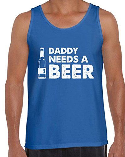 Awkward Styles Men's Daddy Needs A Beer Cool Tank Tops Beer Funny Saying Gift for Dad Blue 2XL