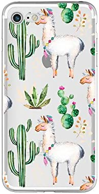 iPhone SE (2020) Case/iPhone 8 Case/iPhone 7 Case(4.7inch),Blingy's Llama Style Transparent Clear Flexible TPU Protective Case Compatible for iPhone SE (2020)/iPhone 8/iPhone 7 (Llama Cactus)