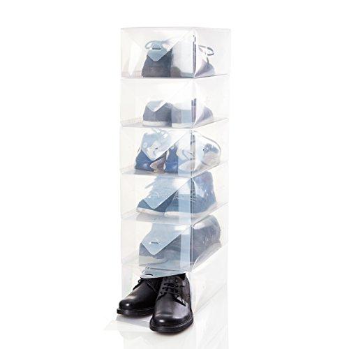 Lumaland Caja almacenaje Zapatos Hombre. Apilable. Transparente Set de 5. 35 x...