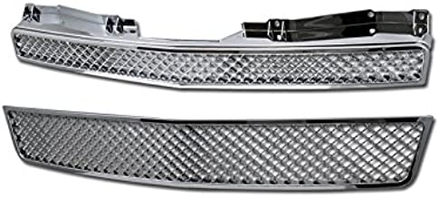 R&L Racing Chrome Mesh Front Hood Bumper Grill Grille 2007-2014 for Chevy Tahoe/Suburban/Avalanche