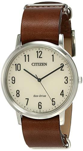 Citizen Men's BJ6501-28A Silver Leather Eco-Drive Dress Watch