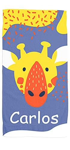 Toallas de Playa o Ducha Personalizadas con Nombre o Frases. Toallas Infantiles para niño y niña (Unisex). Regalo Infantil Original para baño, Piscina, Playa, Camping. Varias Medidas (Girafa)
