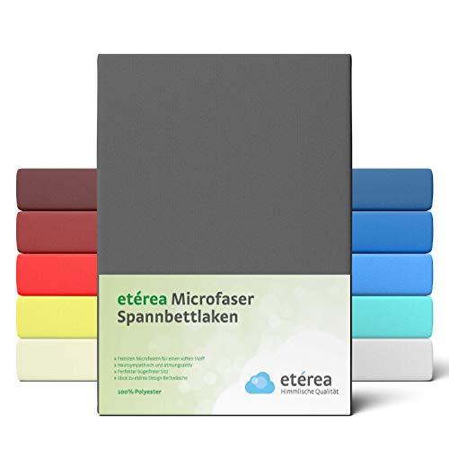 etérea Microfaser Spannbettlaken 90x200-100x200 cm - glattes, feines Mikrofaser Spannbetttuch auch 100% Polyester, Bettlaken mit ca. 25 cm Steghöhe, Anthrazit
