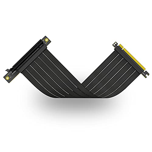 Ziyituod PCI-E x16 Riser Kabel, PCI Express 3.0, 90 Grad Schwarzer PCIE Extender, Kompatibel mit GTX RTX Serie, Radeon Serie Grafikkarte (20cm)