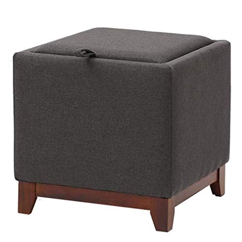 WEIZI Reposapiés otomano con espacio de almacenamiento reposapiés cuadrado asiento tapizado suave reposapiés taburete de madera maciza sofá mesa de café taburete