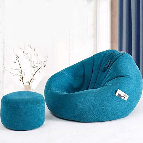 KOKIN Großer Sitzsack wasserdichte Sitzsäcke mit Hocker für den Innen- und Außenbereich, ideal für einen Spielstuhl und einen Gartenstuhl und wetterfest,A,S(80 * 90cm)