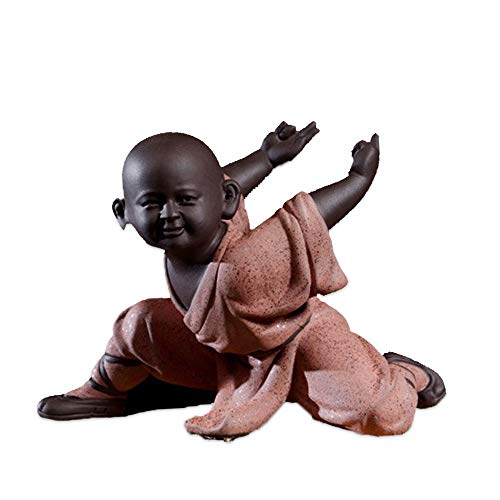 Talent Cool Ceramic Monk Sculptures, Awesome Chinese Kongfu Buddha Statue, Perfect Decoration for Desktop Display, Office, Bedroom, Living Room, etc. (4.9in, Pink)