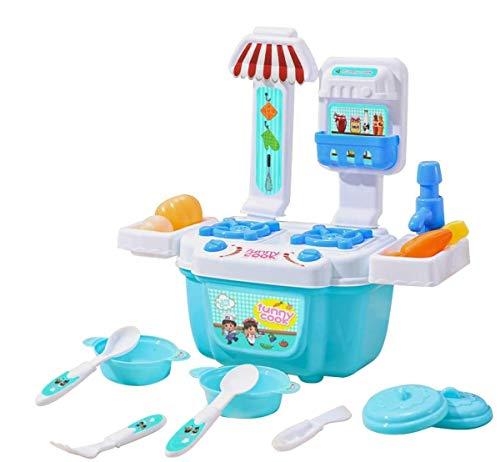 LQKYWNA 22pcs / Set Pretend Küche Wiedergabe Toy Chef-Küche Role Play Backofen und Kochplatten mit Licht und Sounds für Kind-Spielzeug-Geschenke
