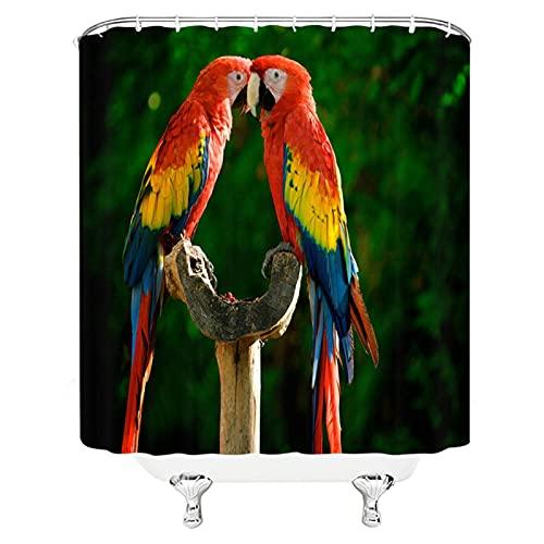 LTTA Tier Papagei Adler Vogel Duschvorhang Wasserdicht Polyester Vorhang Großer 3D Verdunkelungsvorhang für Badezimmer Wohnkultur-180x180cm