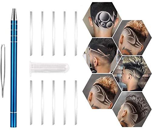 Haarrasierstift Carving Pen, MTDH DIY Multifunktionales Haar Tattoo Rasierklingen Stift für raffiniertes Haar/Augenbrauen/Bärte Styling (Blau)
