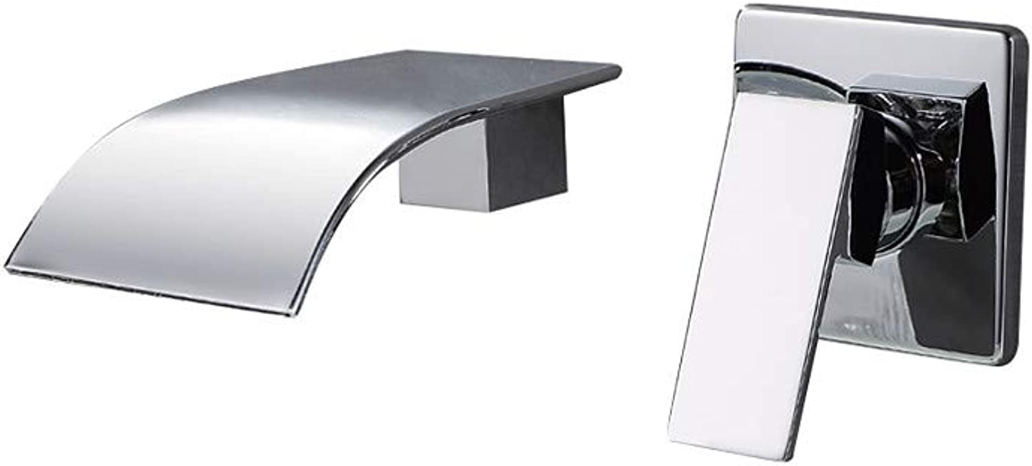 Tintin Bathroom Sink Faucet - Waterfall Wall Mount Chrome Wall Mounted Single Handle Two Holes