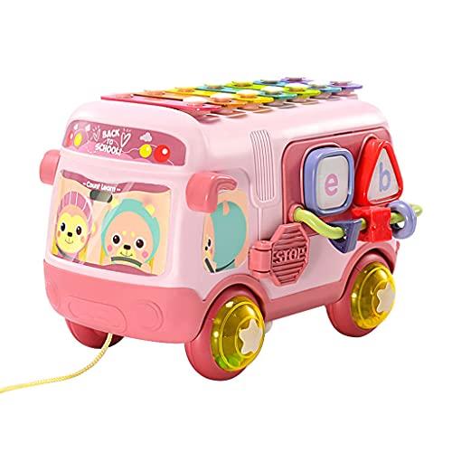 AniYY Autobús escolar juguete piano xilófono forma de percusión rompecabezas educativos música juguetes desarrollo cerebro temprano para niños niño