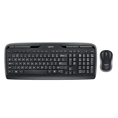 Preisvergleich Produktbild Logitech MK330 Kabelloses Tastatur-Maus-Set,  2.4 GHz Verbindung via Unifying USB-Empfänger,  4 programmierbare G-Tasten,  12 bis 24-Monate Batterielaufzeit,  PC / Laptop,  Spanisches QWERTY-Layout - schwarz