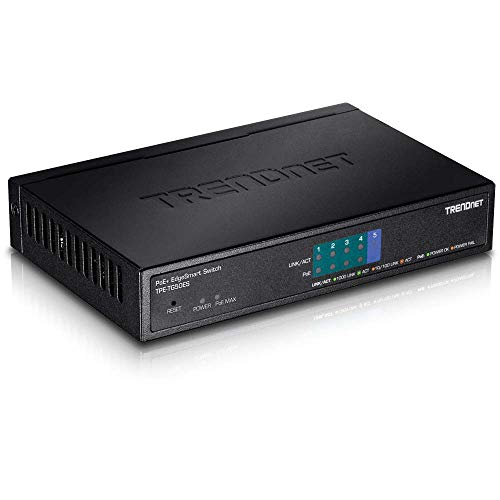 TRENDnet 5-Port Gigabit EdgeSmart PoE+ Switch, TPE-TG50ES, 4 x Gigabit PoE+ Ports, 1x Gigabit Port, 31W PoE Power Budget, Managed PoE+ Switch, Wall mountable, Desktop Switch, Lifetime Protection